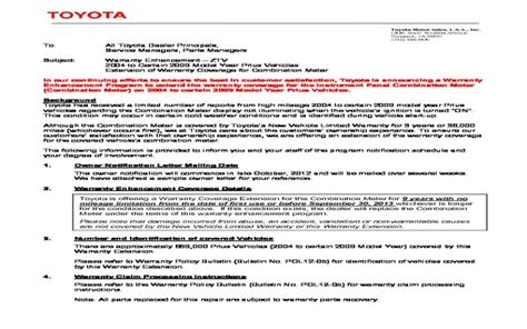cancellation letter extended warranty of extended warranty on toyota prius could could be