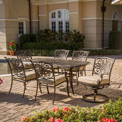 hanover outdoor furniture traditions  piece bronze metal frame patio dining set  natural