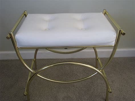 Vanity Bench Stool by Vintage Brass White Vinyl Padded Vanity Bench Stool Chair
