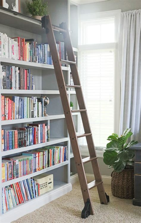 bookcase with ladder and rail rolling library ladder custom service hardware