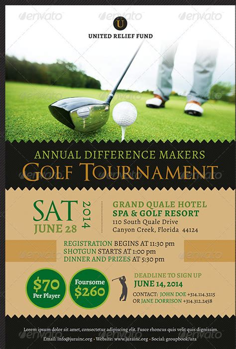golf tournament invitation template fundraiser flyer