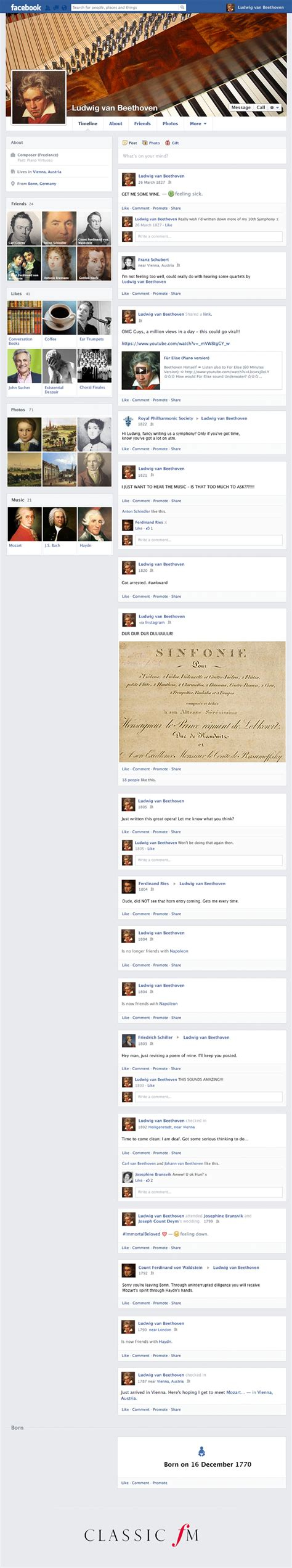beethoven biography timeline if composers had facebook beethoven s profile classic fm