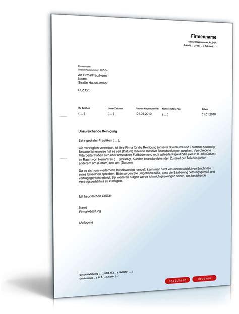 Angebot Reinigungsfirma Muster Beanstandung An Eine Reinigungsfirma Muster Vorlage Zum