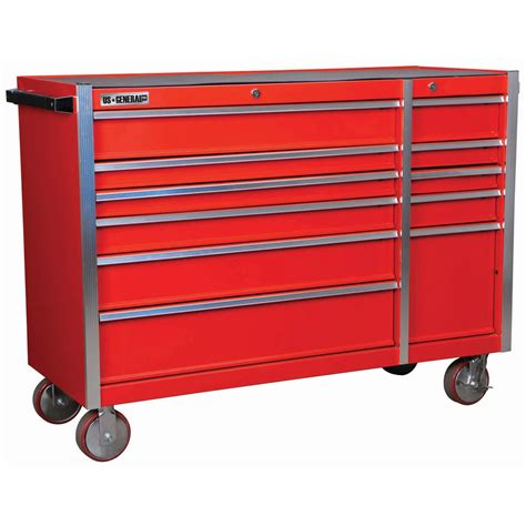 56 in 11 drawer glossy industrial roller cabinet
