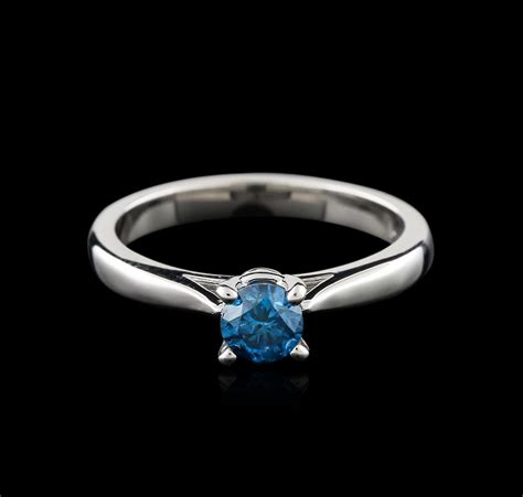Cincin Berlian 120 Ct White Gold 40 14kt white gold 0 47ct cut fancy blue solitaire ring