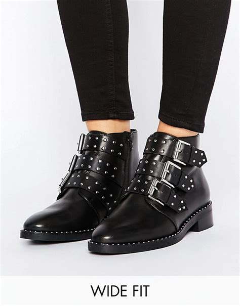 asos asos asher wide fit leather studded ankle boots