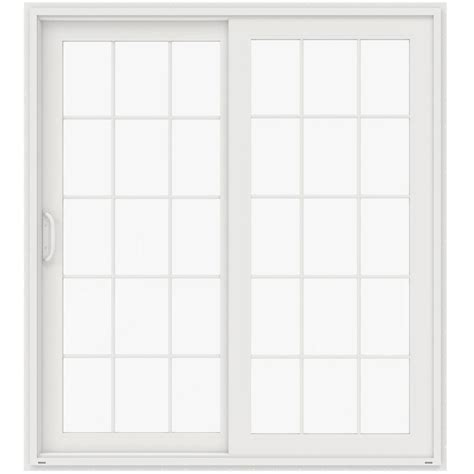 Masterpiece Patio Doors Masterpiece 72 In X 80 In Composite White Left Smooth Interior With Blinds Between Glass