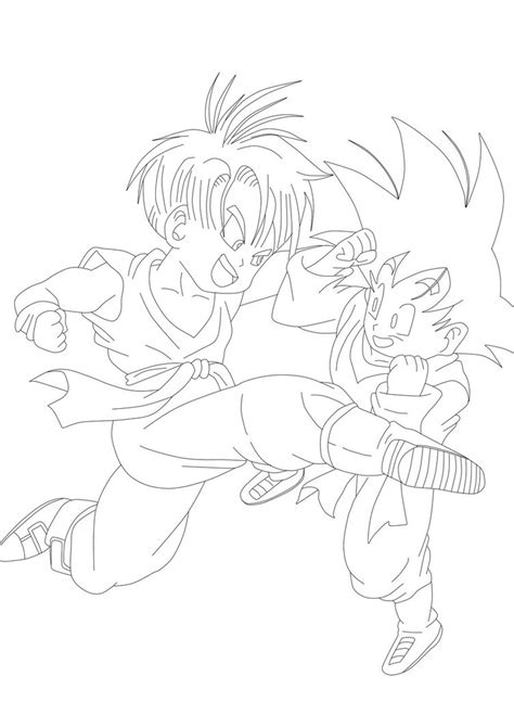 kid trunks and goten free coloring pages