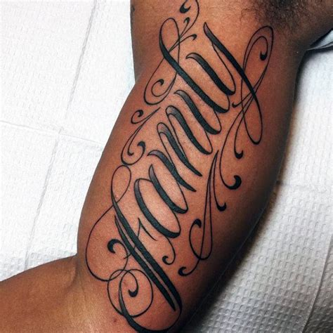 tattoo lettering upper arm 100 family tattoos for men commemorative ink design ideas