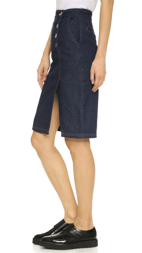 sjyp denim pencil skirt in blue lyst