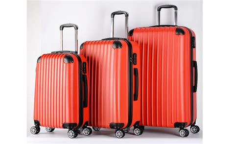 Solid Luggage Padlock Series R 7819 Colour set of 3 travel luggage wheel trolley suitcase bags shell size s m l