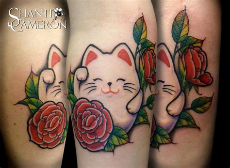 lucky cat tattoo maneki neko lucky cat by shanti tattoos