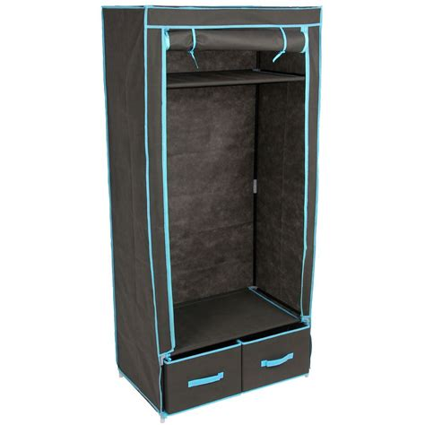 hanging clothes storage double wardrobe black canvas style rail bedroom clothes