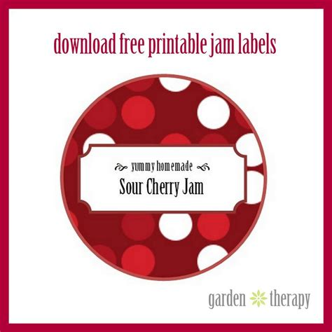 free printable jam label sour cherry jam garden therapy