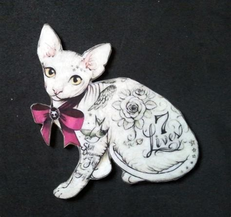 tattooed hairless cat tattooed sphynx cat brooch 9 99 via etsy quot it s like