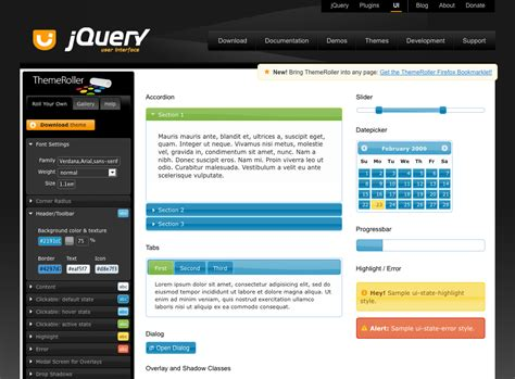 themeroller themes gallery jquery ui development planning wiki getting started guide