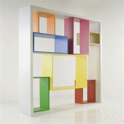 colorful bookshelf unit in modular shelving system