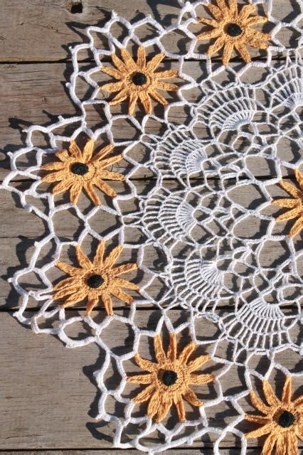crochet pattern black eyed susan vintage crochet lace flower doily large table topper w