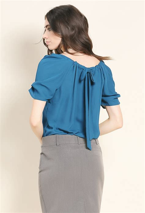 Ribbon Chiffon Top back ribbon chiffon top shop blouse shirts at papaya