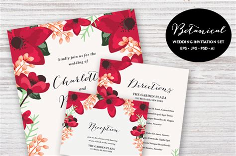 Invitation Letter Psd Botanical Wedding Set Esp Psd Invitation Templates On Creative Market