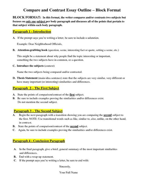 Compare And Contrast Essay Exle For Middle School by Exles Of Scenario In An Essay Search Humanities Grammar