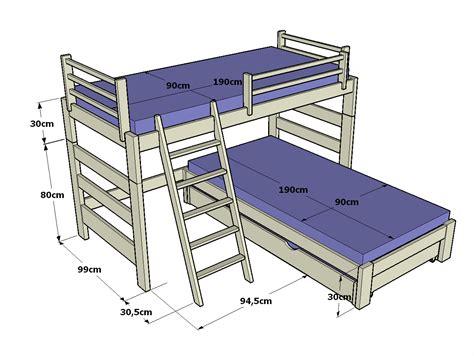 futon 3 cuerpos medidas litera infantil en l de 110cm altura y cama inferior con