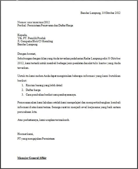 Contoh Surat Permintaan Produk by Surat Penawaran Contoh Surat Indonesia