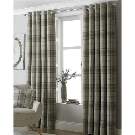 fully lined eyelet curtains paoletti aviemore tartan check fully lined ready made ring