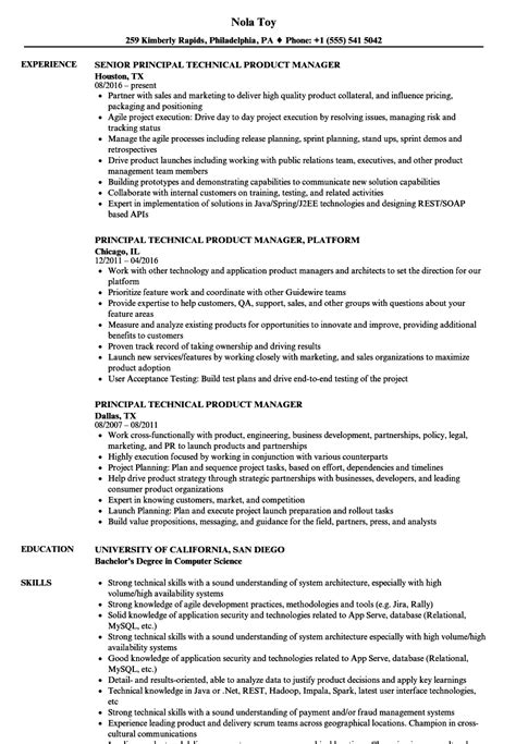 resume sles for technical support managers principal technical product manager resume sles velvet