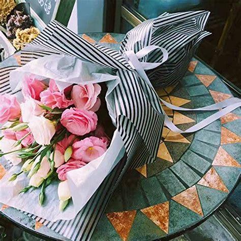 striped flower packaging paper waterproof flower wrapping