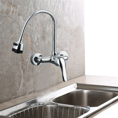 single handle wall mount kitchen faucet contemporary solid brass single handle wall mount kitchen
