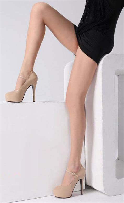 Shh1993 Material Pu Heel 14cm Size 35 36 37 389 beige black womens platform pumps ankle buckle