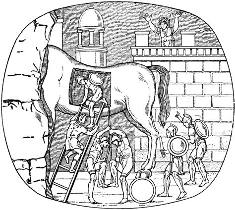 coloring pages of trojan horse free coloring pages of trojan horse story