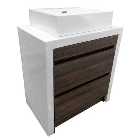 Bathroom Vanity Cabinets With Tops Bestview 28 In X 18 In White Walnut Drop In Single Sink Bathroom Vanity With Cultured Marble Top