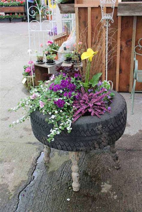 Using Tyres As Planters by 17 Cool And Easy Diy Garden Pot Ideas