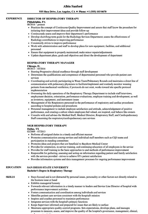 Respiratory Therapist Resume by Respiratory Therapy Resume Sles Velvet