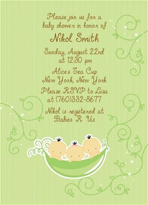 Three Peas In A Pod Baby Shower by Triplets Three Peas In A Pod Asian Baby Shower Invitations