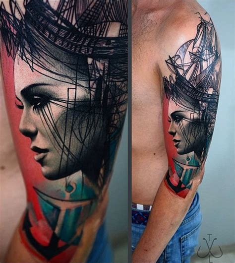 portrait amp sailing ship best tattoo design ideas