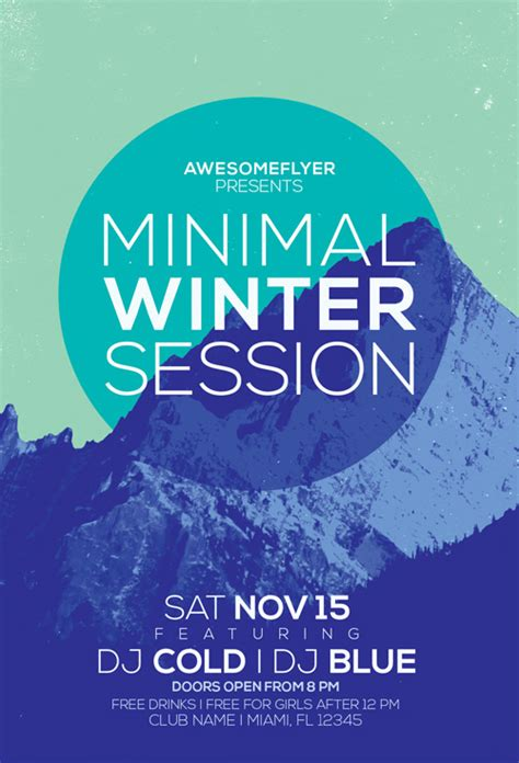 Minimal Winter Party Flyer Template Awesomeflyer Com Winter Flyer Template