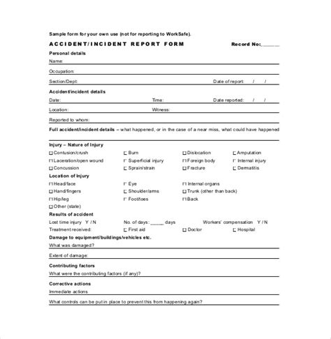 incident report register template report templates 33 free word excel pdf documents