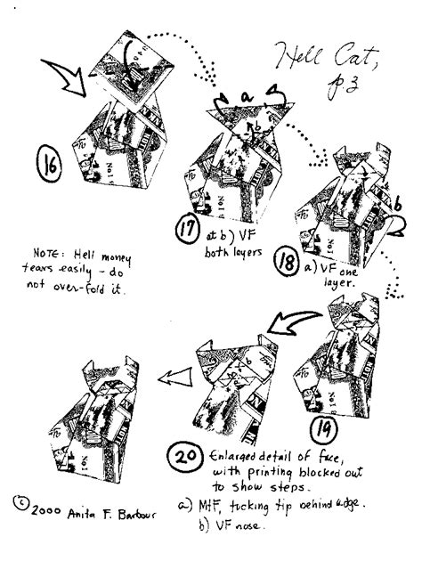 Origami Cat Diagrams - money origami models a to g