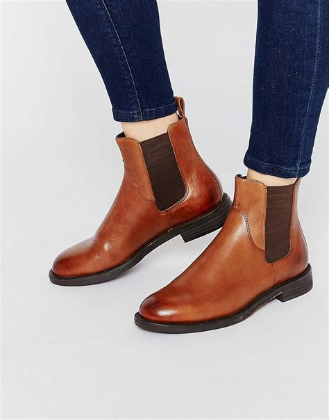 vagabond vagabond amina leather flat ankle boots at asos