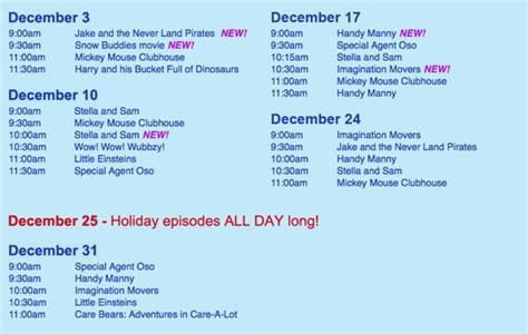 disney junior holiday schedule growing your baby