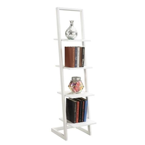 4 Shelf Ladder Bookcase In White 131499w Ladder Bookcase White