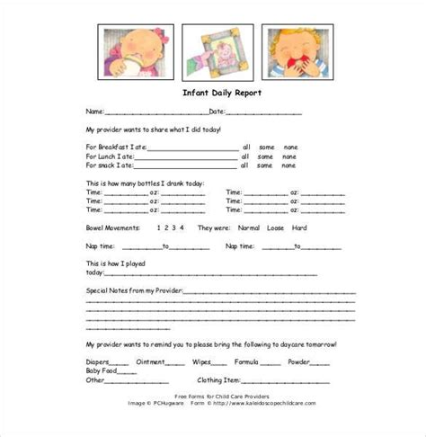 daycare daily report template daycare infant daily report template tm sheet