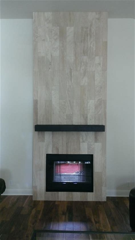 "Fireplace   6"" x 24"" Travertine Plank Tile   Contemporary"