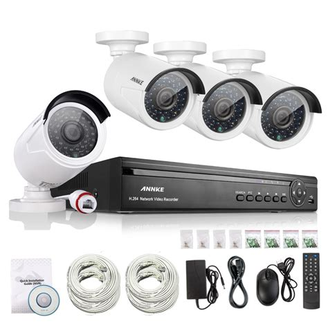 ip record annke 4ch nvr 960p ip network poe record ir outdoor
