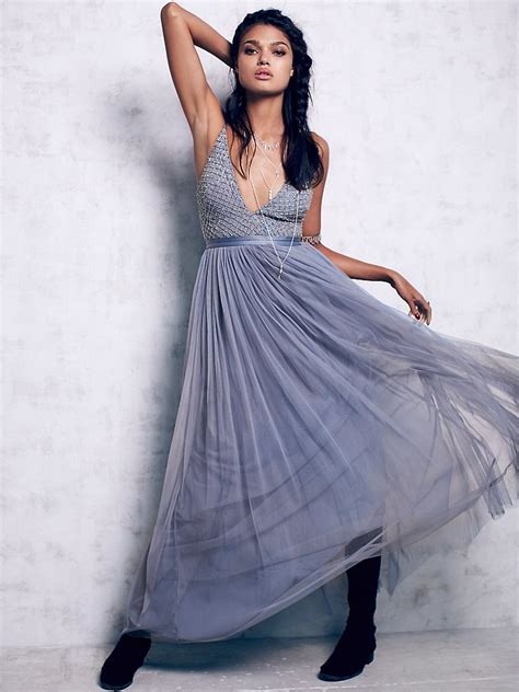 Drss 851 Dress Maxy Indiana lyst free plunge v tulle maxi dress in blue