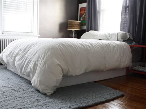 bedroom with no bed cover your boxspring with an easy fabric wrap how tos diy