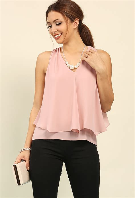 tiered v neck chiffon top w necklace shop blouse